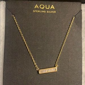 Sterling silver yellow gold plated bar necklace